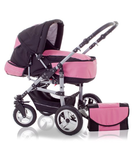 "BRAND NEW 2 IN 1 PRAM ""FLASH S"" - 360° SWIVEL FRONT WHEELS - MANY ACCESSORIES - 9 PIECES - IN COLOUR BLACK-PINK"