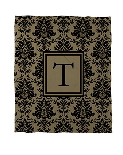 Thumbprintz Coral Fleece Throw, 30 By 40-Inch, Monogrammed Letter T, Black And Gold Damask front-447506