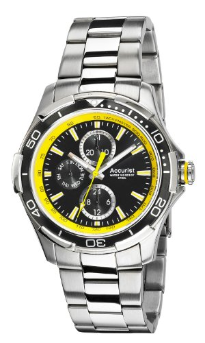 Accurist Men's Quartz Watch with Black Dial Analogue Display and Silver Stainless Steel Bracelet 5033988027849