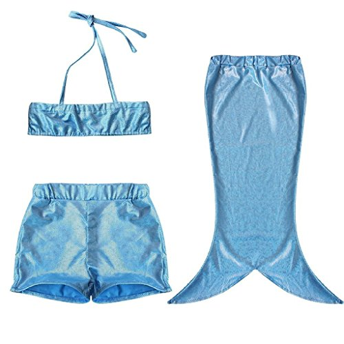 3PCS Baby Girls Kids Mermaid Swimwear Bathing Suit Princess Beach