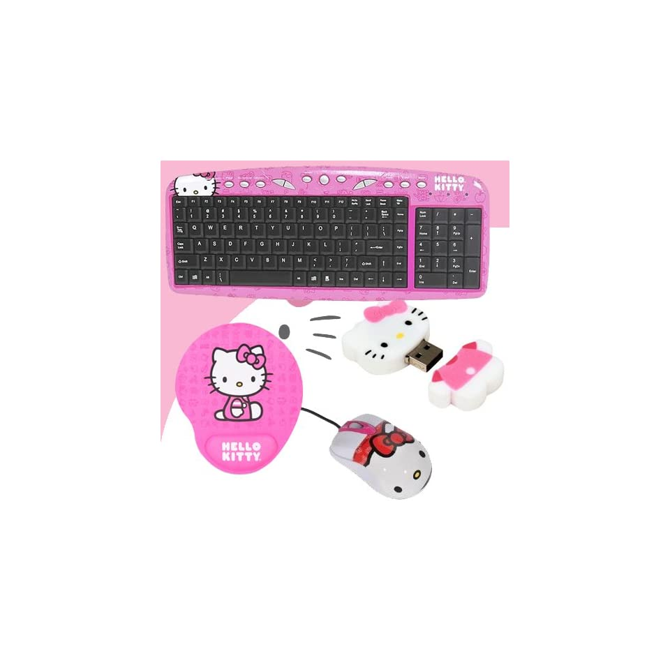 Hello Kitty USB Keyboard with Hot Keys #90309K (Pink) + Hello Kitty USB Optical Mouse #81309 + Hello Kitty 2 GB USB Flash Drive (Pink/White) #46009 + Hello Kitty Mouse Pad w/ Wrist Rest (Pink) #74709 PNK DavisMAX Bundle