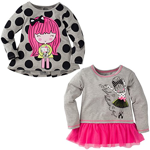 Gerber Graduates Girls' 2 Pack Tops with Tulle Ruffle, Polka Dot Girl/Gray Ballet, 12 Months