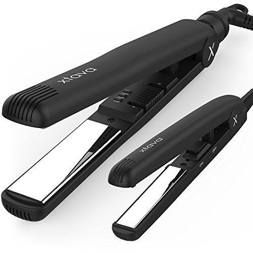 xtava Sleek & Shiny Toolkit - Full Size and Mini Gloss Factor Titanium Flat Iron Kit with 1 and ½ Inch Plates - 2 Professional Hair Straighteners Best for Salon Quality Styling and Precise Touch Ups (Her Style Mini Flat Iron compare prices)