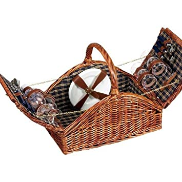 Picnic Basket Sets Wicker Insulated Empty or Dishes