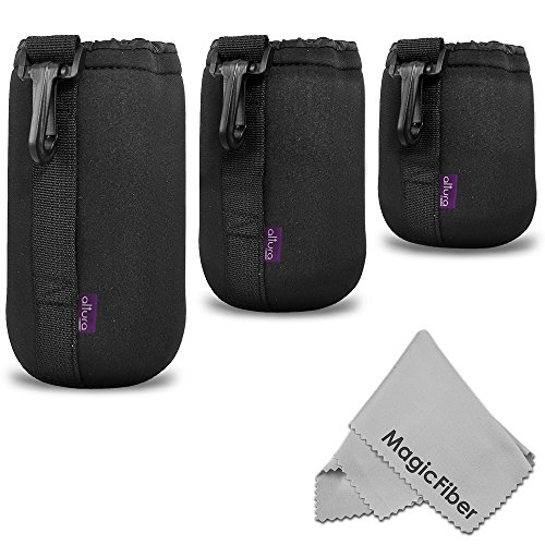 (3 Pack) Altura Photo Neoprene Pouch Kit For Dslr Camera Lens (Canon, Nikon, Pentax, Sony, Olympus, Panasonic) - Includes: Small, Medium And Large Pouches + Magicfiber Microfiber Lens Cleaning Cloth