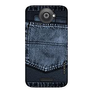Ajay Enterprises Navy Jeans Pocket Back Case Cover for HTC One X