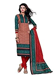 SayShopp Fashion Women's Unstitched Regular Wear Cotton Printed Salwar Suit Dress Material (ZDM-30_Red,Blue_Free Size)