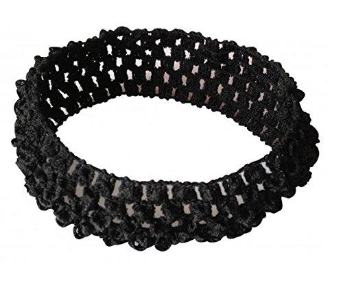 PinkXenia Crochet Knitted soft Elastic NewBorn BabyGirl Black Headband