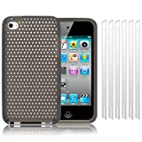 APPLE IPOD TOUCH 4TH GENERATION MESH SILICONE SKIN CASE - GREY, WITH 6-IN-1 SCREEN PROTECTOR PACK
