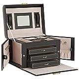 DAILYDREAM® Exklusives Schmuckkästchen Schmuckkasten in schwarz mit 3 Schubladen und