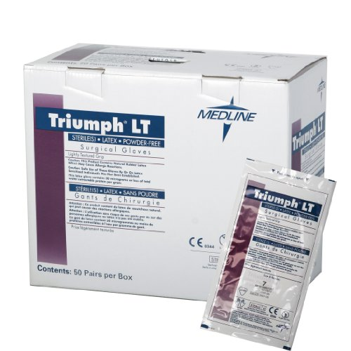 "Medline Mds108090Lth Triumph Lt Latex Powder-Free Surgical Gloves, 9"", White front-597856"