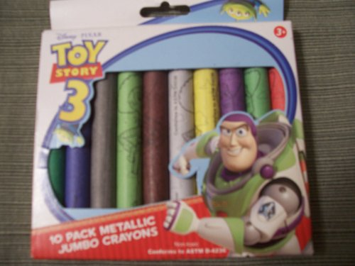 Disney Toy Story 3 ~ 10 Pack Metallic Jumbo Crayons