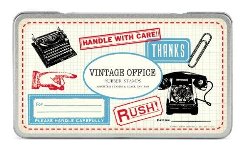 Cavallini & Co. Vintage Office Designed Stamps Set Includes Wooden Rubber Stamps - Assorted/ Ink Pad - Black