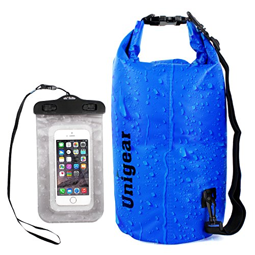 Dry Bag Sack, Waterproof Floating Dry Gear Bags for Boating, Kayaking, Fishing, Rafting, Swimming, Camping, Canoeing and Snowboarding with Free Bonus Universal Waterproof Phone Case Bag (Blue, 10L)
