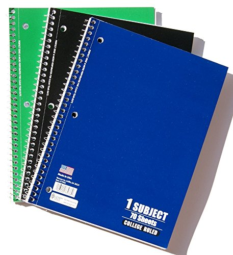 Spiral Bound College Ruled School Notebook - Pack of 3 - Colors Vary