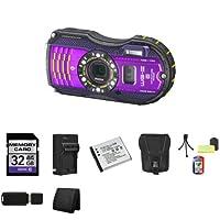 Pentax Optio WG-3 16MP Waterproof Digital Camera with GPS (Purple) + 32GB SDHC Class 10 Memory Card + Extra LI-50B Battery + External Rapid Charger + Carrying Case + Mini Tripod Kit + USB SDHC Reader + Memory Wallet by Pentax