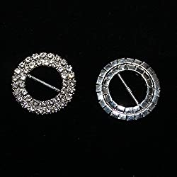 Imported 10pcs Round Rhinestone Ribbon Buckles Sliders Silver 15mm