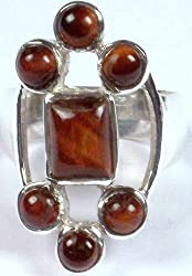 Exotic India Tiger Eye Ring - Sterling Silver