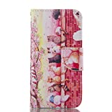 Huawei Honor 6 Magnetic Closure Flip Portable Carrying Case,Book Style Pu Leather Foldable Stand Wallet Full Body Pouch Smart Case with Card Slots for Huawei Honor 6,Herzzer Fashion Premium High Quality [Flower Kittens Pattern] Folio Protective Case Cover with Soft TPU Inner Protector Back Case for Huawei Honor 6 + 1 x Pink Cellphone Kickstand + 1 x Pink Stylus Pen