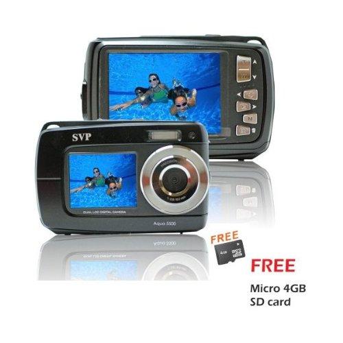 Aqua 5500 Black (with Micro 4GB) 18 MP Dual Screen Waterproof Digital Camera