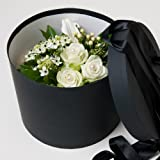 Fresh Flowers Delivered - Luxury White Roses and Lily Fresh Flowers Hat Box