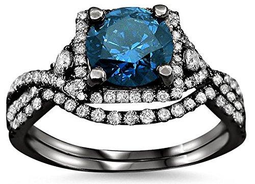 1.90Ct Blue Round Diamond Engagement Ring Bridal Set 18K Black Gold Rhodium Plating Over White Gold