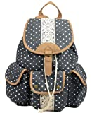 Multi-function Practical large capacity Leisure outdoor Canvas Polka Dot Rucksack Backpack campus Tote Handbag Satchel Campus computer travel Book bag Schoolbag for teen girls / college student (navy-blue)