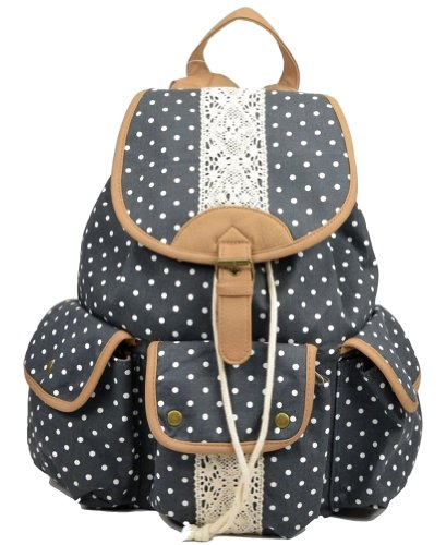 Best Deals! Multi-function Practical large capacity Leisure outdoor Canvas Polka Dot Rucksack Backpa...