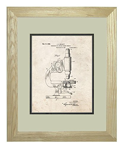 "Microscope And Counting Chamber Patent Art Old Look Print In A Natural Raw Wood Frame (11"" X 14"")"