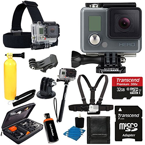 PHOTO4LESS discount duty free GoPro HERO Action Camera HD Camcorder Waterproof With Deluxe Hard Carrying Case + Head Strap + Chest Strap + Monopod + 32GB SDHC MicroSD Memory Card Complete Deluxe Accessory Bundle