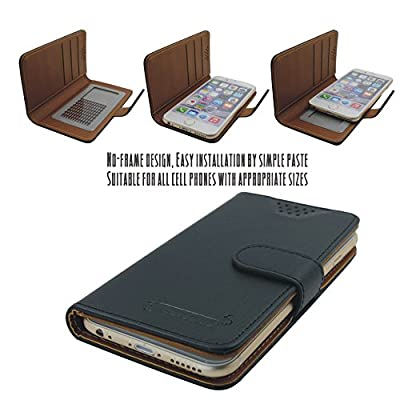 Universal Series-2 Leatherette Wallet Case, Casewide, Universal Case for iPhone 5/5S, Samsung Galaxy Alpha & BlackBerry Q10, ID & Credit Card Slots, Light weighted & Slim fit, One piece case with easy stick-on installation, Sliding phone up-and-down for p