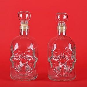 2 bouteilles en verre vides 500 ml t te de mort bouchon en verre pirate bouteilles liqueur. Black Bedroom Furniture Sets. Home Design Ideas
