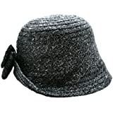 Collection XIIX Women's Hat Cloche with Bow, Black with silver