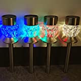 8Pack 4Color Crystal Lampshade Stainless Steel Sogrand Solar Light Solar Pathway Light Solar Stake Light Set