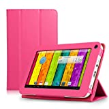 ProntoTec Ultra Slim Lightweight Smart-shell Stand Leather Case Cover for 7 Inch ProntoTec A20 Android Tablet(Pink)