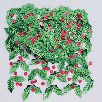 Creative Converting Shaped Confetti, Holly and Berries, Green/Red, Green/Red