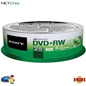 DVD RW 4.7 GB Recordable Discs Spindle Pack Of 25 And Free 6 Feet Netcna HDMI Cable - By NETCNA