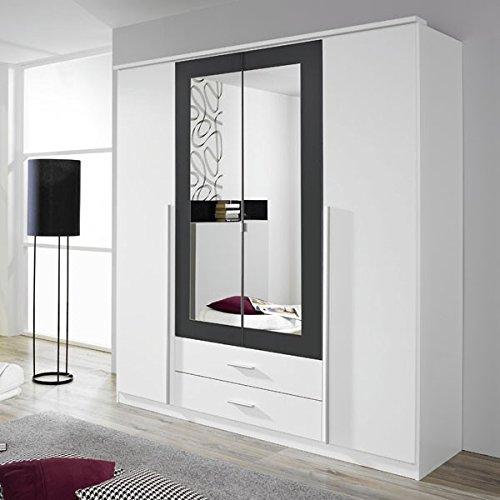 Kleiderschrank weiß / grau 4 Türen B 181 cm Schrank Drehtürenschrank Wäscheschrank Spiegelschrank Kinderzimmer Jugendzimmer günstig online kaufen