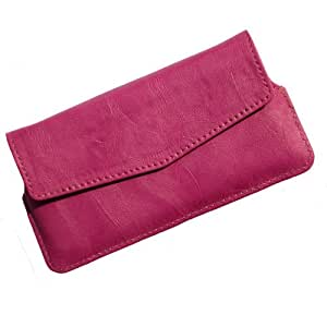 i-KitPit Quality PU Leather Pouch Case With Magnet Closure For Karbonn A26 (PINK)