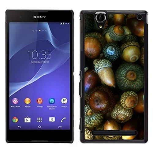 GIFT CHOICE / Dimagriscono Duro Custodia protettiva Caso Cassa Slim Hard Protective Case SmartPhone Cover for Sony Xperia T2 Ultra // Dado verde Autumn Acorn //