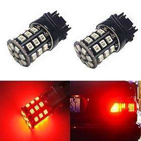 JDM ASTAR Super Bright AX-2835 Chipsets 3056 3156 3057 3157 LED Bulbs For Brake Light Tail lights Turn Signal, Brilliant Red