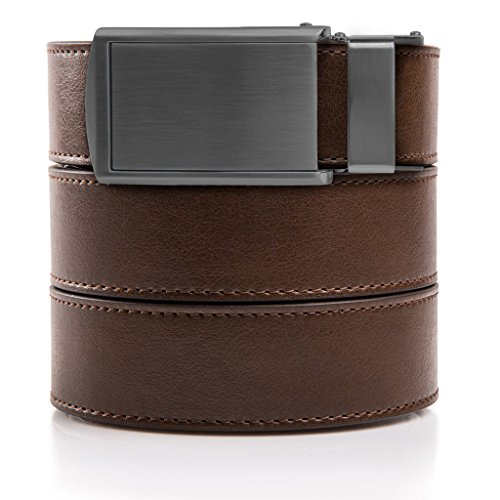 SlideBelts Men's Animal-Friendly Leather Belt without Holes - Gunmetal Buckle / Brown Leather (Trim-to-fit: Up to 48