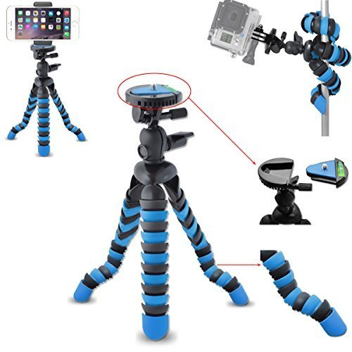 AVAWO-Universal-12-Inch-Flexible-Tripod-Wrapable-Leg-Quick-Release-Plate-for-GoPro-HERO-1-2-3-3-4-iPhone-6-6S-Plus-5S-Samsung-S4-S5-S6-Smartphone-GoPro-Tripod-Mount-Cell-Phone-Tripod-Adapter
