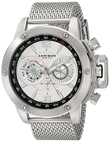 Akribos-XXIV-Mens-AK515SSW-Conqueror-Stainless-Steel-Watch-With-Mesh-Bracelet
