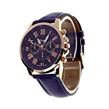 buy Creazy® Fashion New Women'S Faux Leather Roman Numerals Wrist Watch (Purple)
