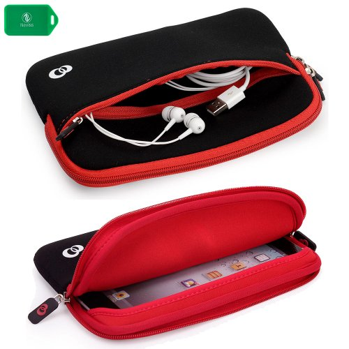 SLIM NEOPRENE SLEEVE WITH FRONT POCKET FOR ACCESSORIES in BLACK/RED for Linsay 7″ Tablet w/Google Android Jelly Bean