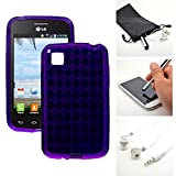 Purple Candy Crystal Skin TPU Gel Soft Fitted Case Cover for LG L39C Optimus Dynamic 2 II + Accessory Kit by Emaxx