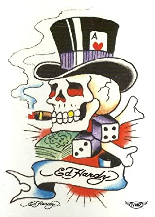 "Hardy Skull with Top Hat Temporary Body Art Tattoos 3"" x 4"": Clothing"