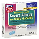 Rite Aid Pharmacy Severe Allergy, Plus Sinus Headache, Maximum Strength, Caplets, 20 caplets