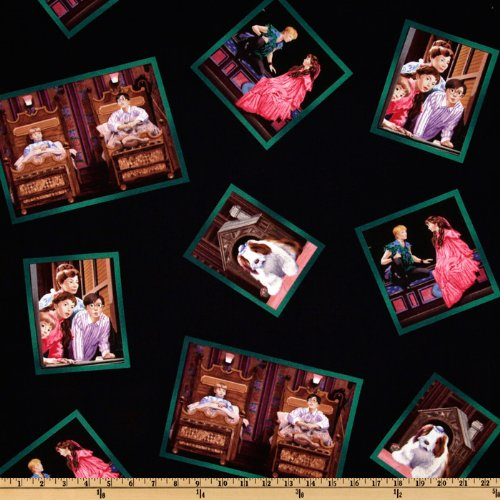 44'' Wide Peter Pan - Off To Neverland Frames Black Fabric By The Yard